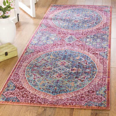Mellie Blue/Red/Pink Area Rug Rug Size: Runner 3 x 8
