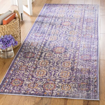 Mellie Beige/Purple Area Rug Rug Size: Runner 3 x 8