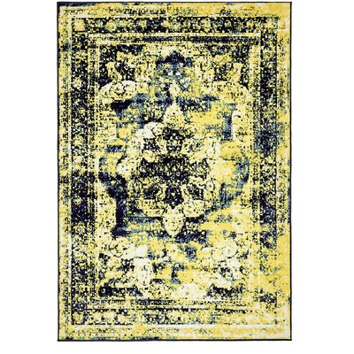 Brandt Navy Blue/ Yellow Area Rug Rug Size: Rectangle 4 x 6
