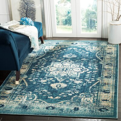Elson Navy/Gold Area Rug Rug Size: Rectangle 51 x 76