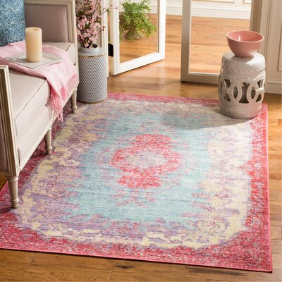 Bangou Light Blue/Fuchsia Area Rug Rug Size: Rectangle 5 x 7