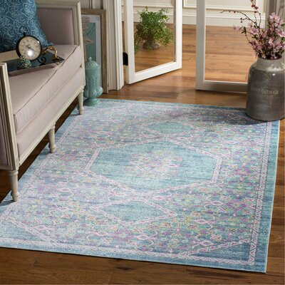 Bangou Blue/Purple Area Rug Rug Size: Rectangle 5 x 7