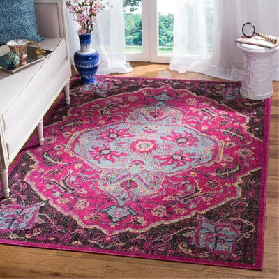 Manya Oriental Rectangle Pink Area Rug Rug Size: Rectangle 51 x 76