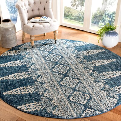 Elson Floral Royal Area Rug Rug Size: Round 67