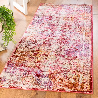 Mellie Red/Beige Area Rug Rug Size: Runner 3 x 8