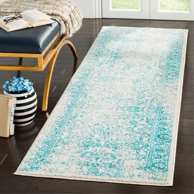 Norwell Ivory/Teal Area Rug Rug Size: Runner 26 x 8