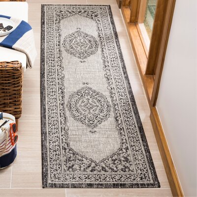 Myers Gray/Black Indoor/Outdoor Area Rug Rug Size: Runner 23 x 8