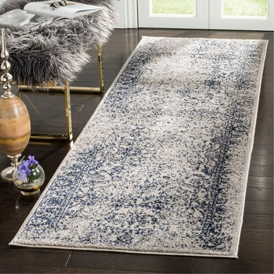 Norwell Gray/Navy Area Rug Rug Size: Runner 26 x 8