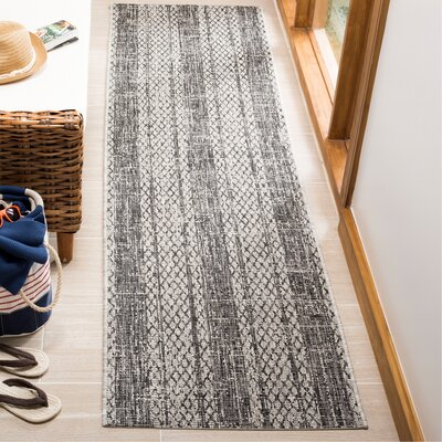Myers Striped Gray/Black Indoor/Outdoor Area Rug Rug Size: Runner 23 x 8