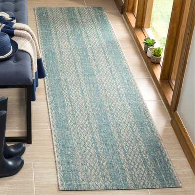 Myers Abstract Gray/Aqua Indoor/Outdoor Area Rug Rug Size: Runner 23 x 8