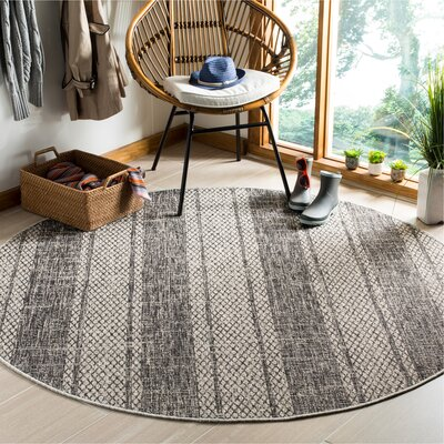 Myers Striped Gray/Black Indoor/Outdoor Area Rug Rug Size: Round 67