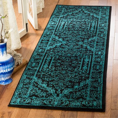 Norwell Black/Teal Area Rug Rug Size: Runner 26 x 8