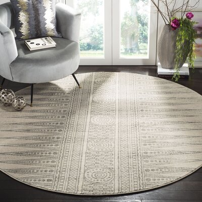 Elson Rectangle Ivory/Silver Area Rug Rug Size: Round 67