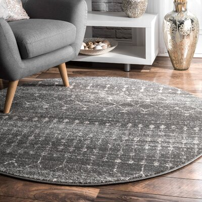 Clair Dark Gray Area Rug Rug Size: Round 5