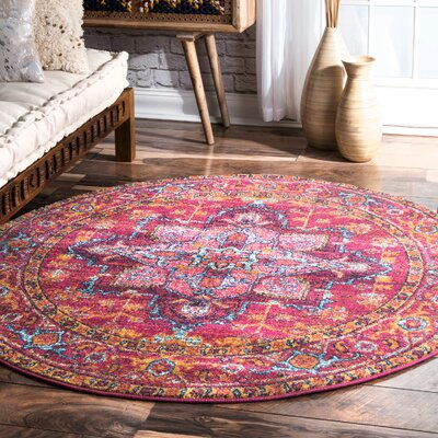Christophe Blooming Pink/Orange Area Rug Rug Size: Round 5