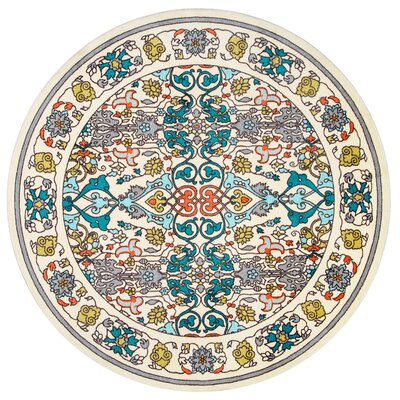 Collins Blue/Yellow Area Rug Rug Size: Round 6
