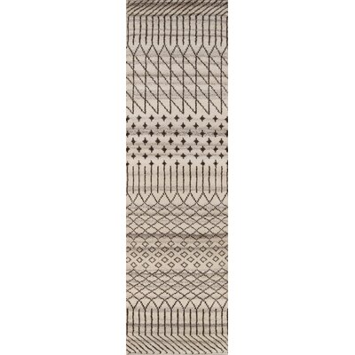 Dante Hand-Woven Gray/Cream Area Rug Rug Size: Runner 23 x 8