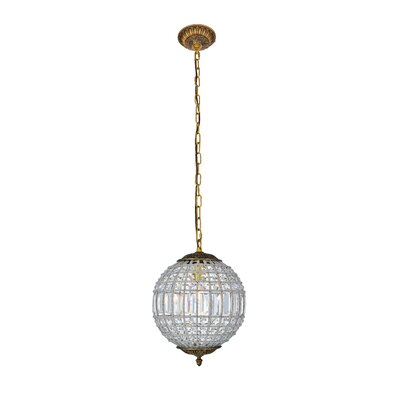 Crestview 1-Light Crystal Shade Globe Pendant