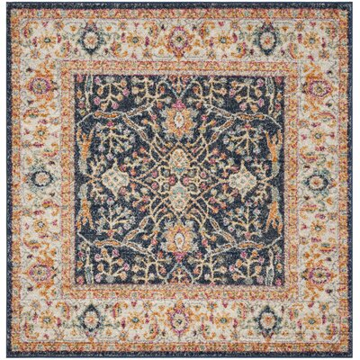 Grieve Navy/Cream Area Rug Rug Size: Square 5