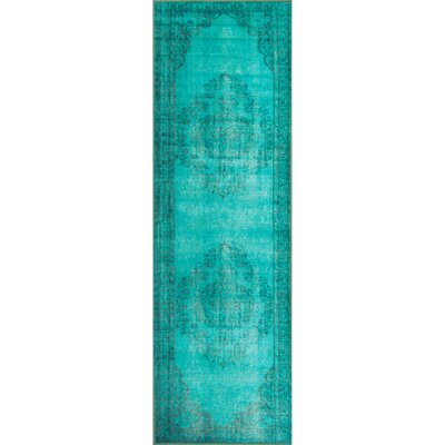 Parson Turquoise Area Rug Rug Size: Runner 28 x 8