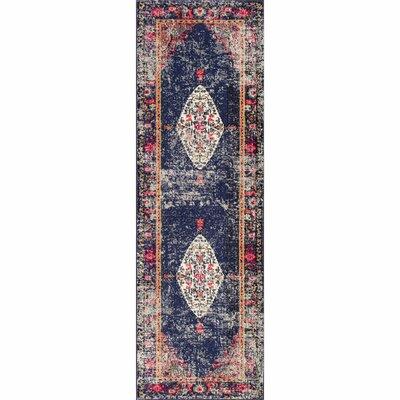 Paradiso Navy Area Rug Rug Size: Runner 26 x 8