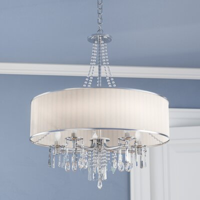 Abel 5-Light Drum Chandelier Shade: Bridal Veil