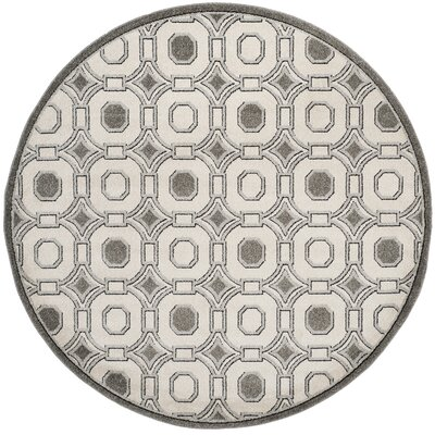Maritza Ivory/Gray Indoor/Outdoor Wool Area Rug Rug Size: Round 7