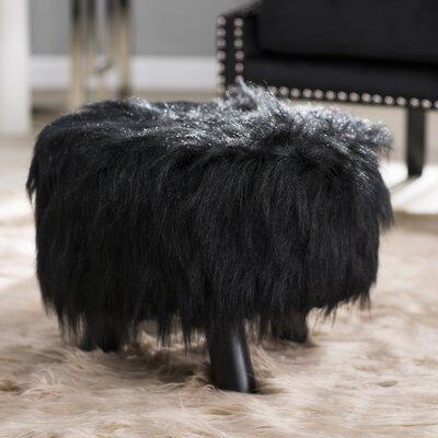 Keomi Flokati Ottoman Upholstery: Black