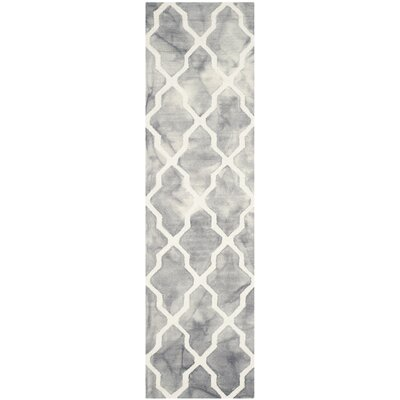 Ashanti Hand-Tufted Grey/Ivory Area Rug Rug Size: Runner 23 x 8