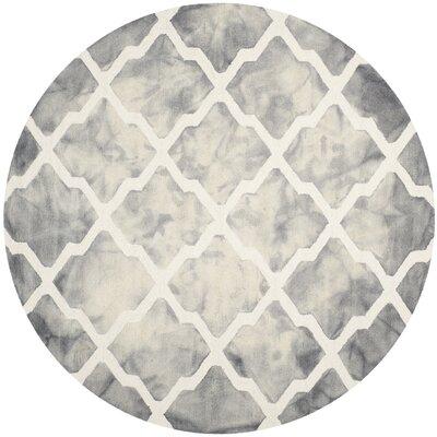 Ashanti Hand-Tufted Grey/Ivory Area Rug Rug Size: Round 7