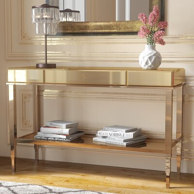 Calisto Mirrored Console Table Finish: Champagne Gold