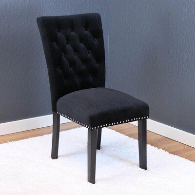 Erling Velvet Parsons Chair Upholstery: Black Velvet