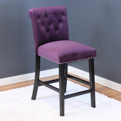 Erling Velvet Counter 26 Bar Stool Upholstery: Plum Wine Velvet