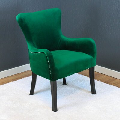 Kaat Velvet Wing back Chair Upholstery: Emerald Green Velvet