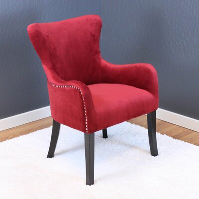 Kaat Velvet Wingback Chair Upholstery: Deep Red Velvet