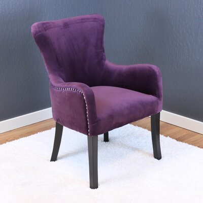 Kaat Velvet Wing back Chair Upholstery: Plum Wine Velvet