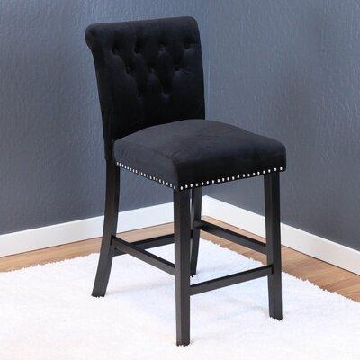 Erling Velvet Counter 26 Bar Stool Upholstery: Black Velvet