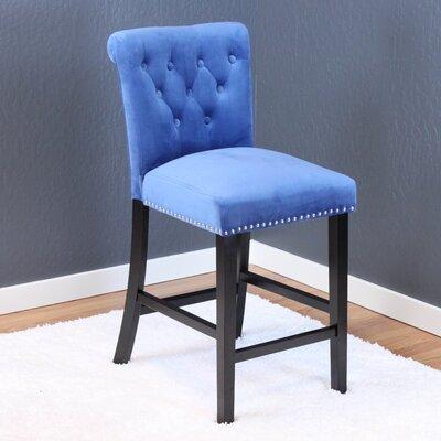 Erling Velvet Counter 26 Bar Stool Upholstery: Sky Blue Velvet