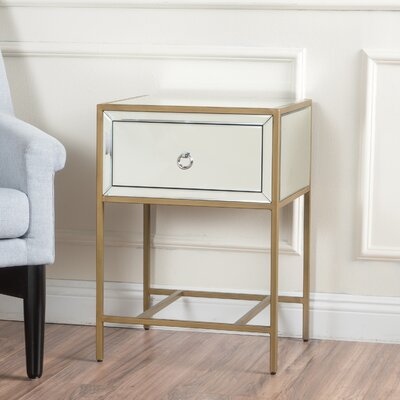 Crosby 1 Drawer End Table Finish: Gold