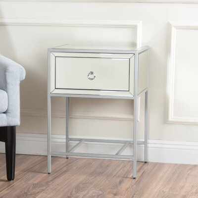 Crosby End Table With Storage Color: Silver