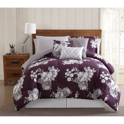 Ariana 12 Piece Comforter Set Size: Queen, Color: Purple