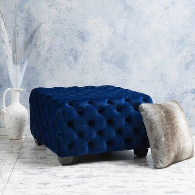 Crane Tufted Velvet Ottoman Upholstery: Navy Blue