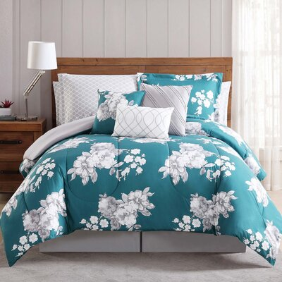 Ariana 12 Piece Comforter Set Size: King, Color: Blue