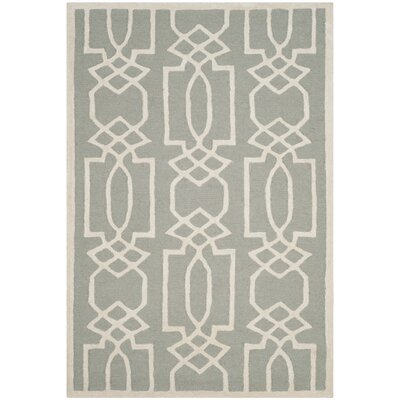 Mcguire Hand-Tufted Gray/Ivory Area Rug Rug Size: Rectangle 4 x 6