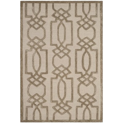 Mcguire Hand-Tufted Sand/Brown Area Rug Rug Size: Rectangle 4 x 6
