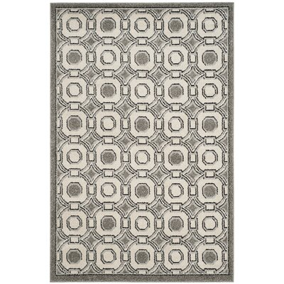 Maritza Ivory/Gray Indoor/Outdoor Wool Area Rug Rug Size: Rectangle 4 x 6