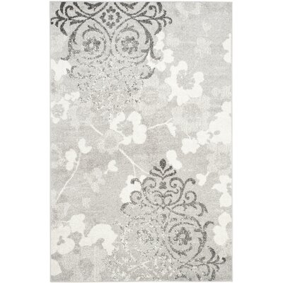 Frizzell Silver/Ivory Area Rug Rug Size: Rectangle 51 x 76