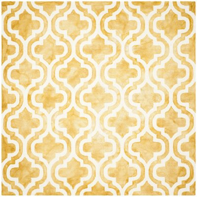 Merseles Hand-Tufted Gold/Ivory Area Rug Rug Size: Square 7