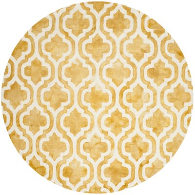 Merseles Hand-Tufted Gold/Ivory Area Rug Rug Size: Round 7