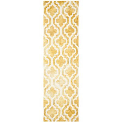 Merseles Hand-Tufted Gold/Ivory Area Rug Rug Size: Runner 23 x 8